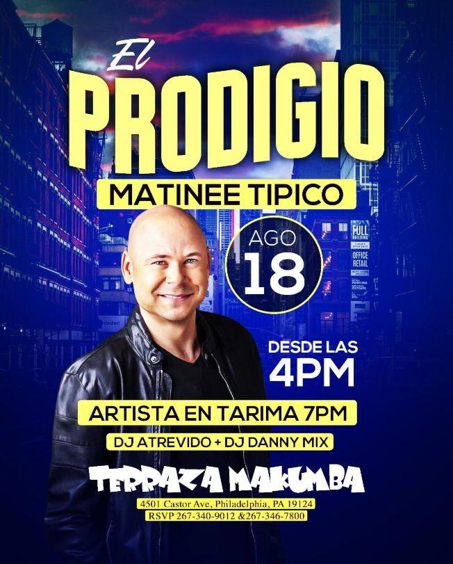 Flyer for Matinee Tipico Con El Prodigio En Concierto En Philadelphia,PA