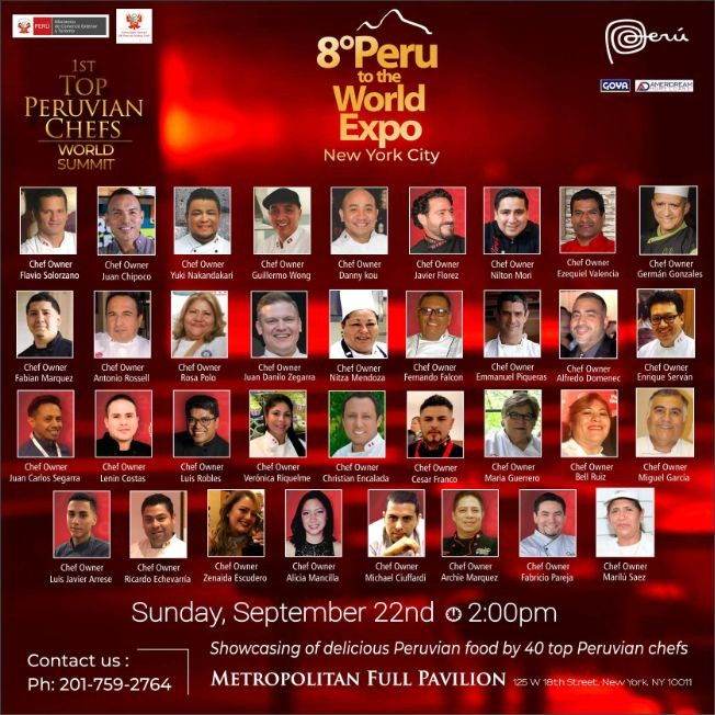 Flyer for 8th Annual Peru To The World Expo, Culinary Tasting & Cocktails