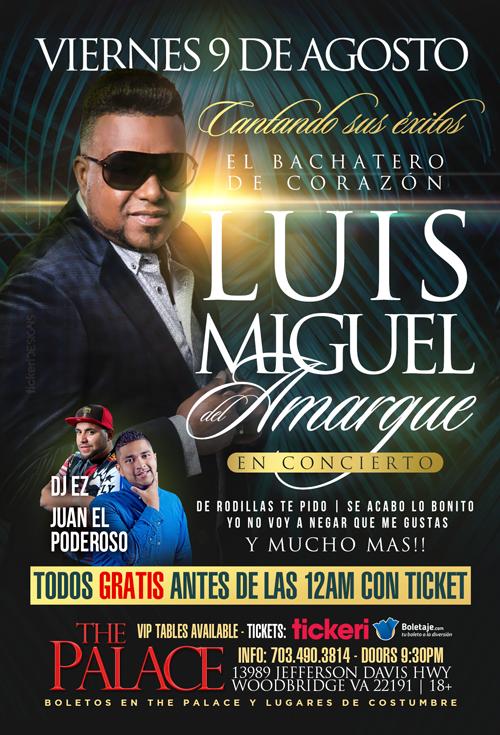 Flyer for Luis Miguel del Amargue en Concierto En Woodbridge,VA