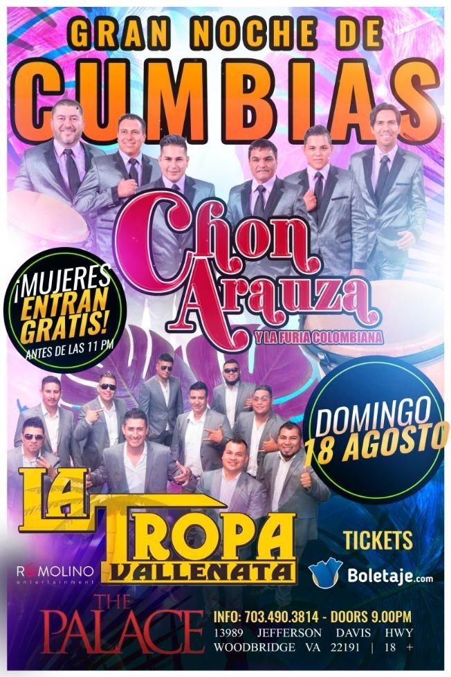 Flyer for Chon Arauza y La Tropa Vallenata - NOCHE DE CUMBIAS en Woodbridge