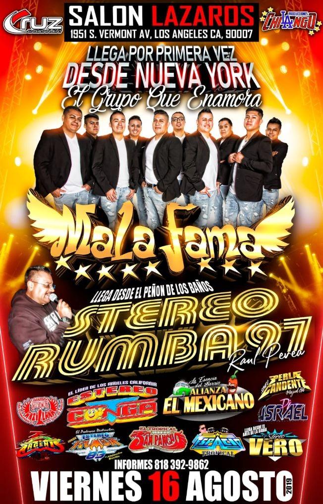 Flyer for Mala Fama, Estereo Rumba 97 en Los Angeles,CA