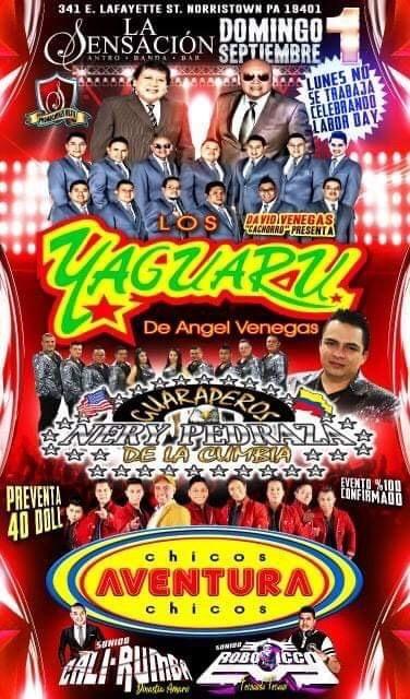 Flyer for YAGUARU Y LOS CHICOS AVENTURA