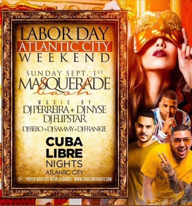 Flyer for Labor Day Weekend 2019 Masquerade Bash At Cuba Libre
