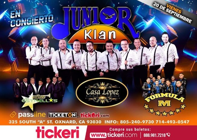 Flyer for Junior Klan En Concierto En Oxnard,CA