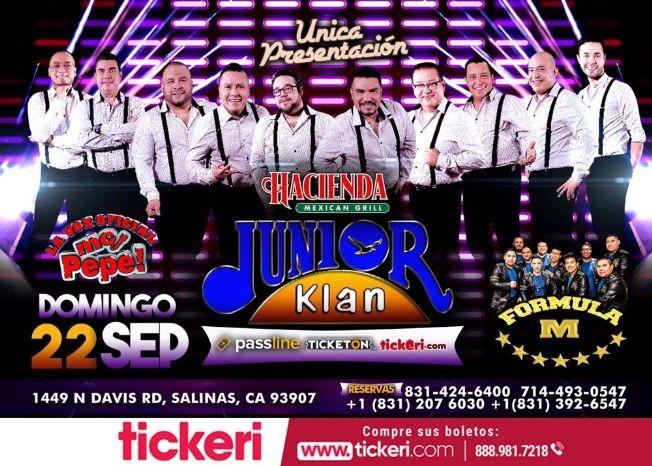 Flyer for Junior Klan En Concierto En Salinas,CA