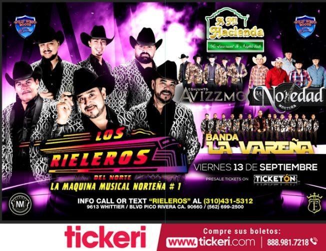 Flyer for Los Rieleros,Banda La Vareña, Conjunto Avizzmo y muchos mas En Concierto En Pico Rivera,CA CANCELED