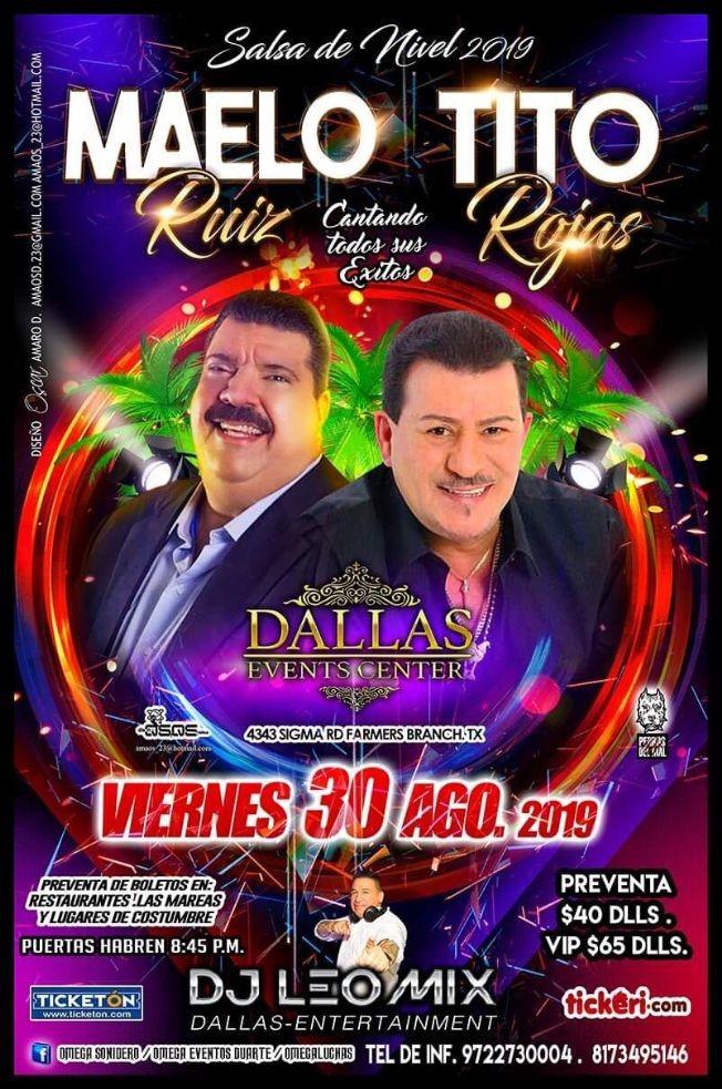 Flyer for Maelo Ruiz Y Tito Rojas En Dallas,TX