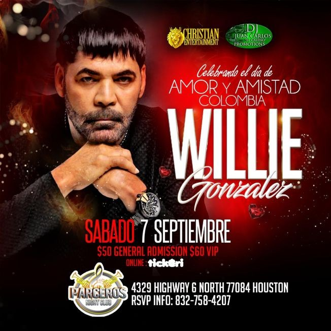 Flyer for WILLIE GONZALEZ  en Houston, TX