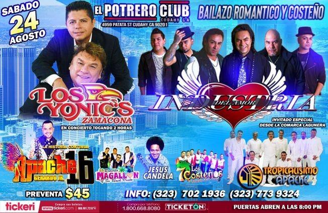 Flyer for Bailazo Romantico Y Costeño Los Yonics ,Apache 16, Industria del Amor y mas En Cudahy, CA