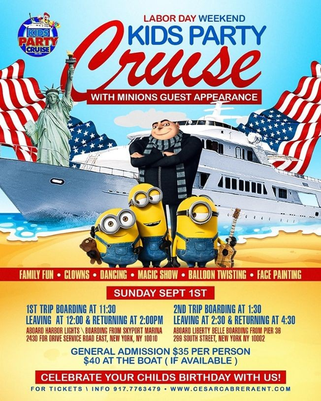 Flyer for Labor Day Minions Kids Party Cruise (1:30pm-4:30pm)