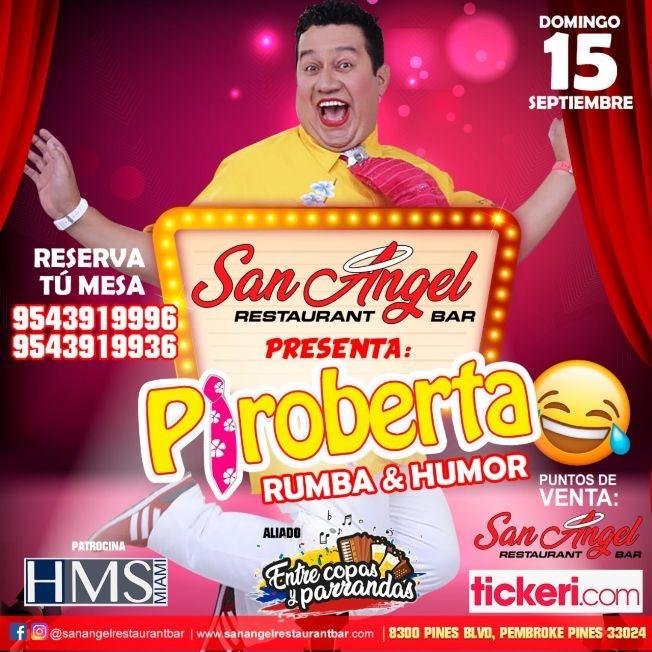Flyer for Piroberta Rumba y Humor En Pembroken Pines, FL
