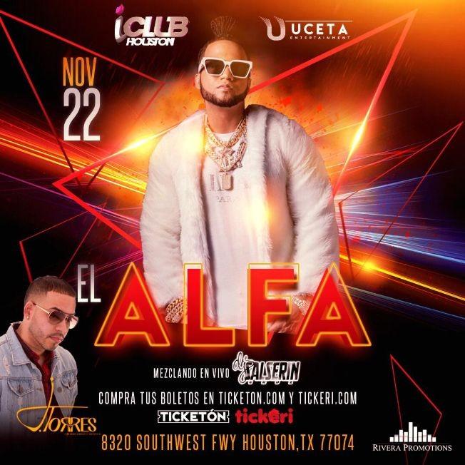 Flyer for El Alfa en Houston