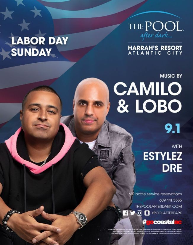 Flyer for Harrahs Pool Party Labor Day Weekend DJ Camilo Live With DJ Lobo At Harrahs Resort