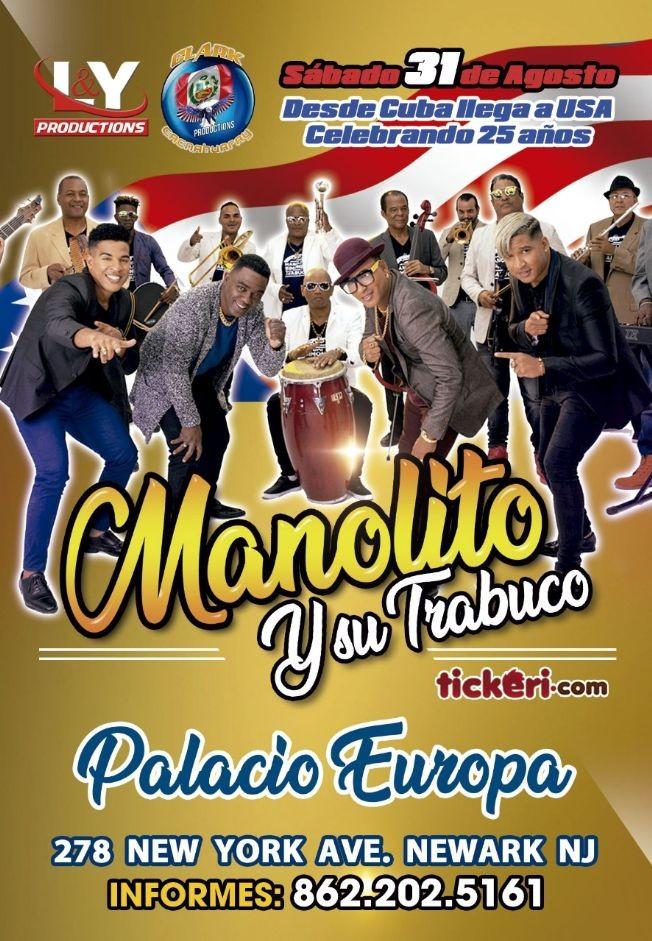 Flyer for Manolito y Su Trabuco en Newark,NJ