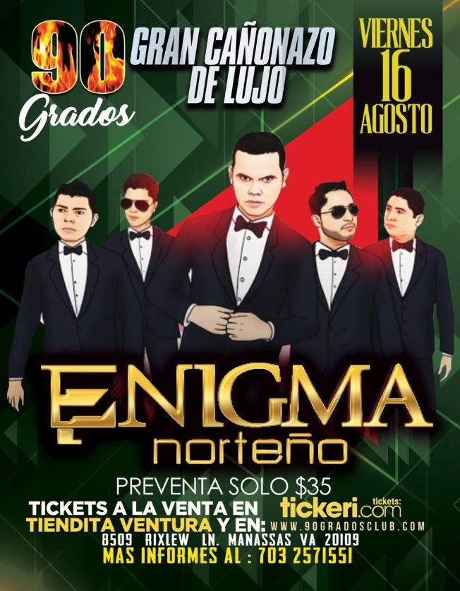Flyer for Enigma Norteño en Manassas,VA