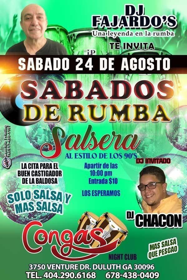 Flyer for Sabados De Rumba Salsera Al Estilo De Los 90´s En Duluth,GA
