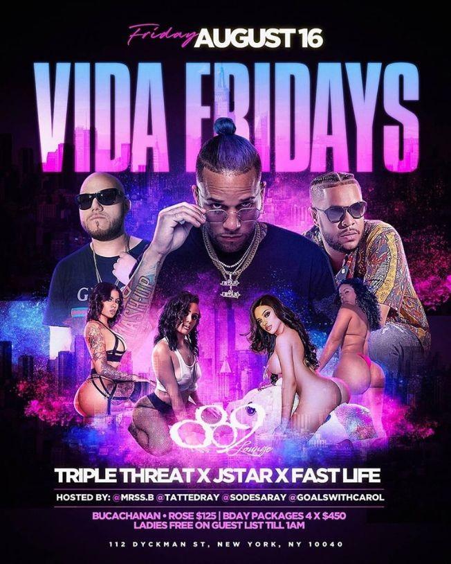 Flyer for Vida Fridays At 809 Lounge