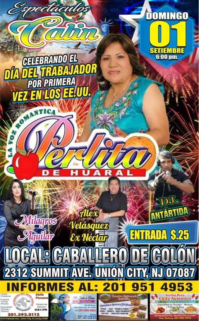 Flyer for Perlita de Huaral en Union City,NJ