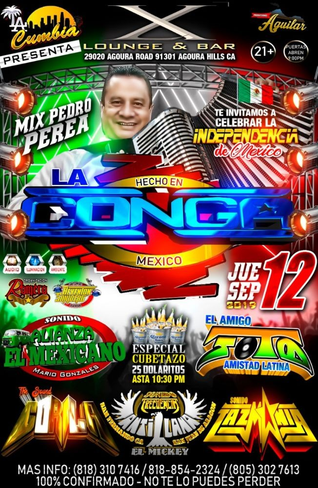 Flyer for La Conga Mix Pedro Perea en Agoura Hills,CA