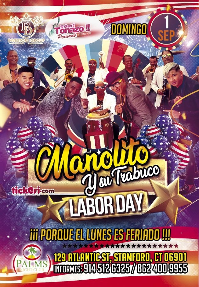 Flyer for Manolito y Su Trabuco en Stamford,CT