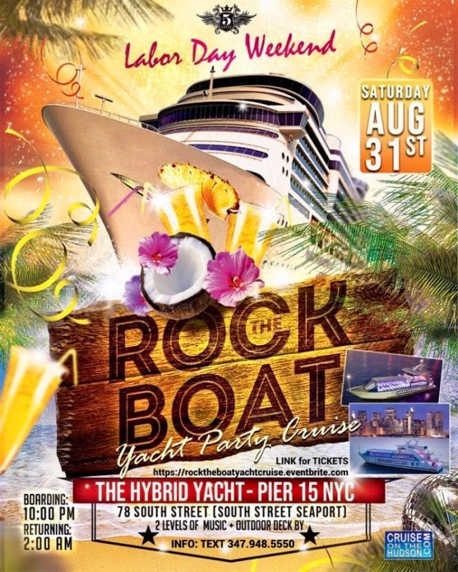 Flyer for Rock the Boat Party Cruise