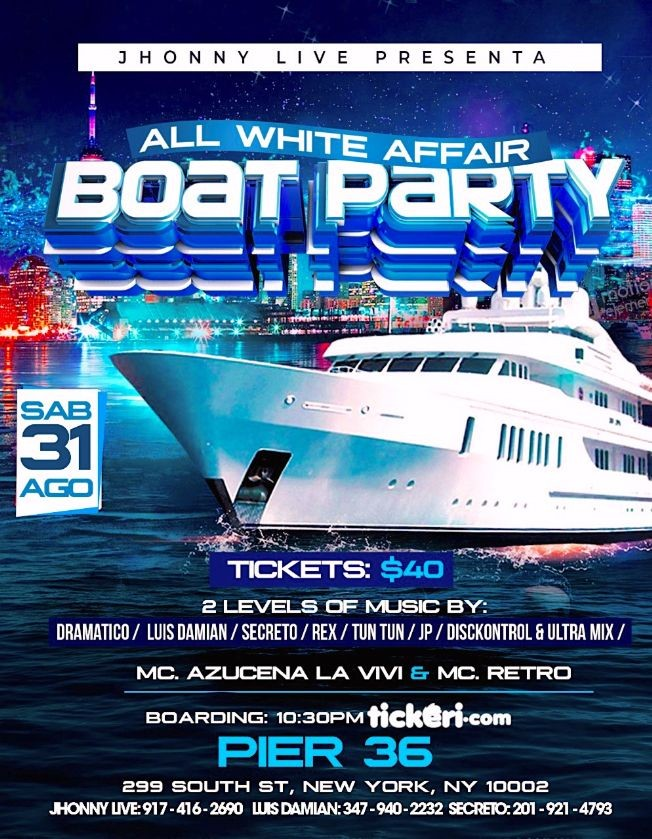 Flyer for ALL WHITE. BOAT PARTY.       PART 2