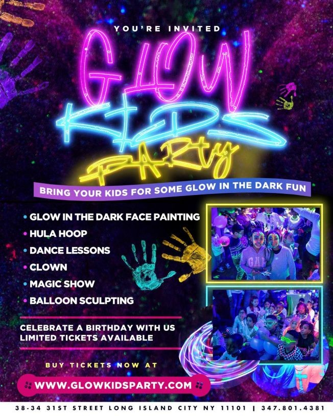 Flyer for Glow Kids Party Queens NY