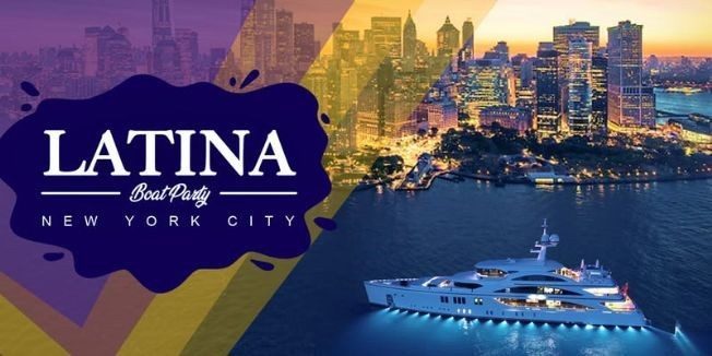Flyer for LATINA BOAT PARTY CRUISE,  VIEWS  OF STATUE OF LIBERTY,Cockctails & Music