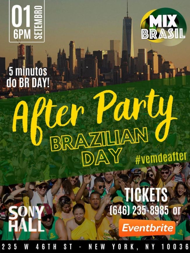 Flyer for Official Brazilian Day Parade After Party At Sony Hall