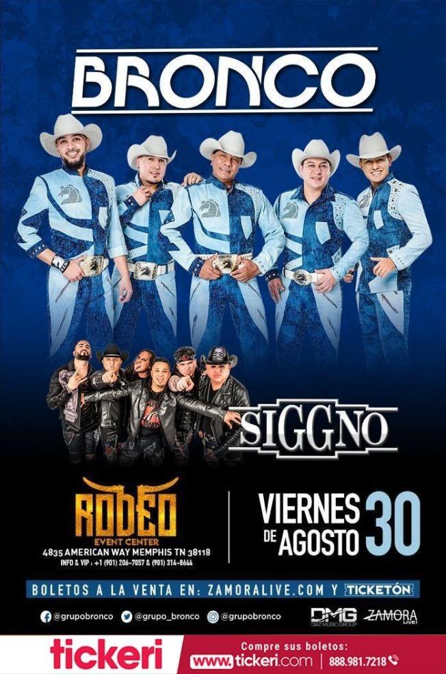 Flyer for Bronco y Siggno En Memphis,TN