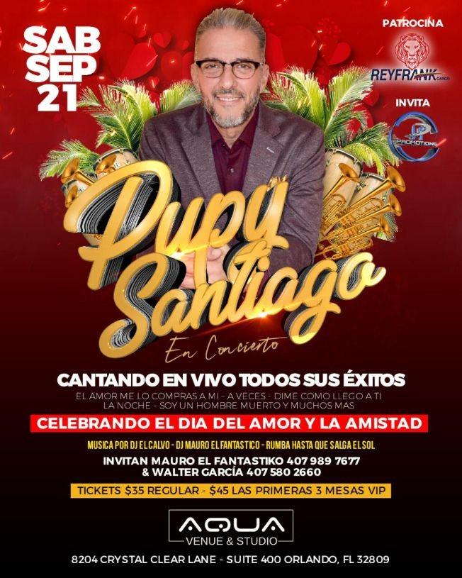 Flyer for Pupy Santiago En Concierto En Orlando,FL