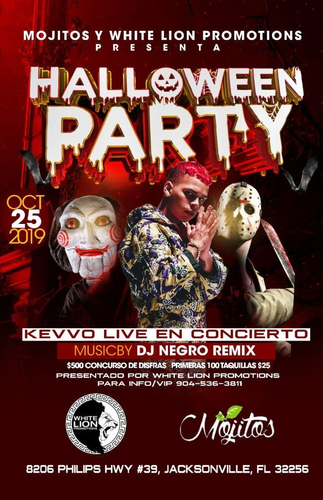 Flyer for Halloween Party with Kevvo in Jacksonville,FL