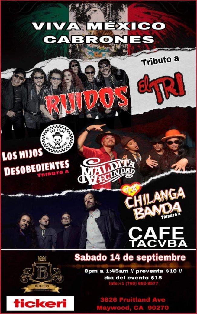 Flyer for Noche de tributos :CAFE TACUBA,EL TRI & MALDITA VECINDAD