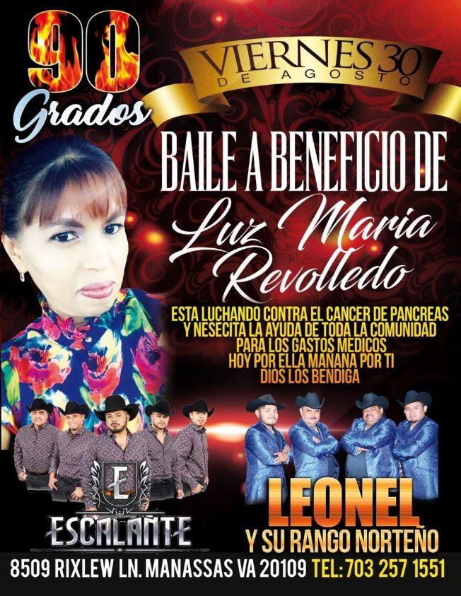Flyer for Baile a Beneficio De Luz Maria Revolledo Con Escalante  Leonel y Su Rancho En Manassas,VA