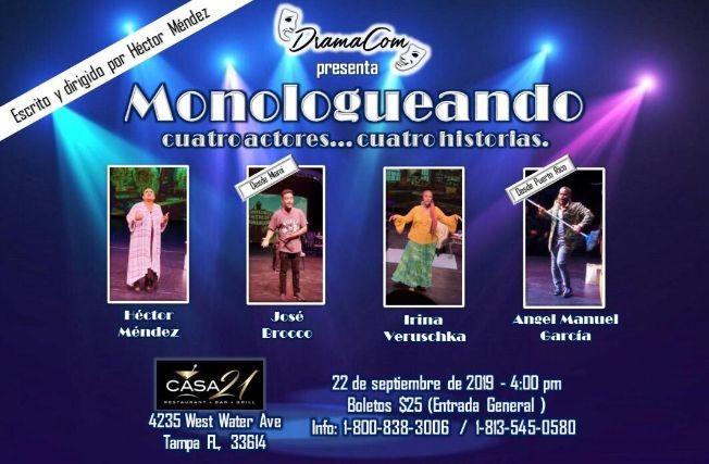"Flyer for Monologueando ""4 Actores, 4 Historias"""