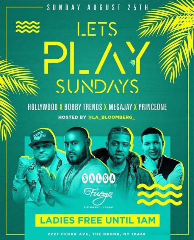 Flyer for Let's Play Sundays DJ Bobby Trends Live At Salsa Con Fuego