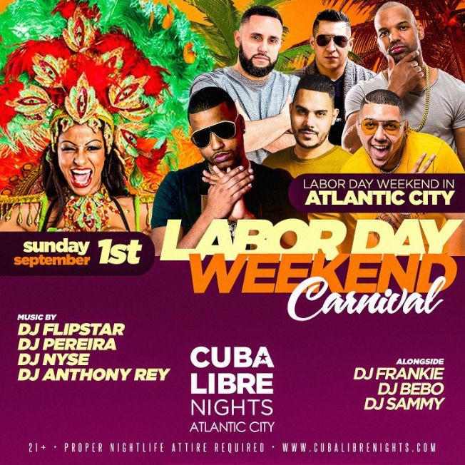 Flyer for Labor Day Weekend 2019 Carnival At Cuba Libre