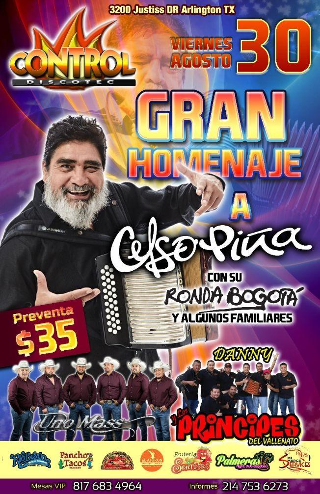 Flyer for Gran Homenaje a Celso Pina con su Ronda Bogota, Los Principes del Vallenato Y Mas en Arlington,TX