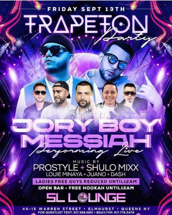 Flyer for Trapeton Party Jory Boy & Messiah Live With DJ Prostyle At SL Lounge