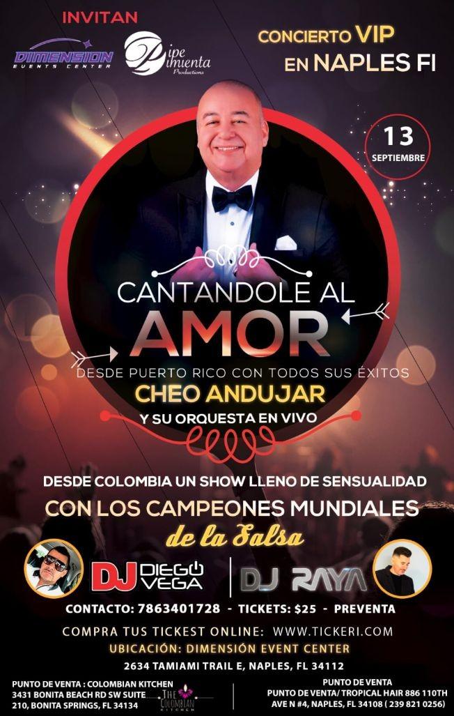 Flyer for Cheo Andujar Cantadole al Amor Naples FL