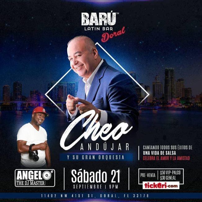 Flyer for Cheo Andujar en Doral FL