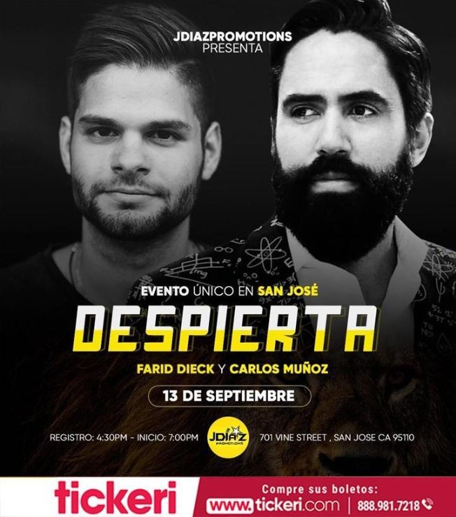 Flyer for Despierta Con Farid Dieck Y Carlos Muñoz En San Jose CA