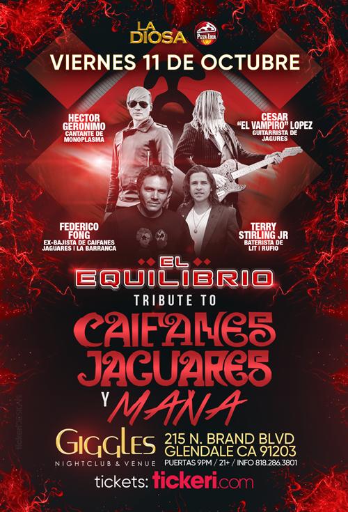 Flyer for TRIBUTO A CAIFANES, JAGUARES Y MANA EN LOS ANGELES