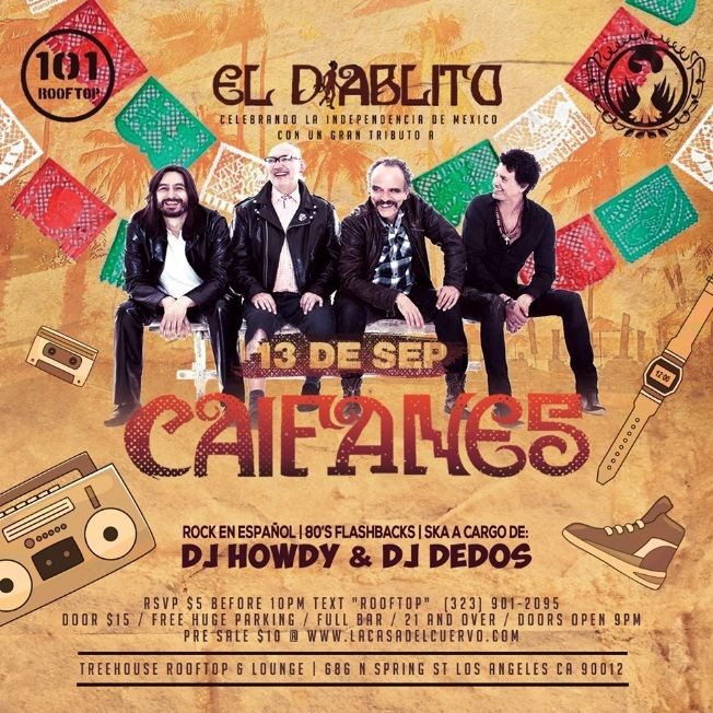 Flyer for CAIFANES. EL DIABLITO TRIBUTO EN VIVO DESDE MEXICO. 80'S & ROCK EN ESPANOL NIGHT