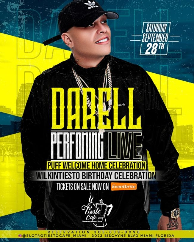 Flyer for DARELL PERFORMING LIVE