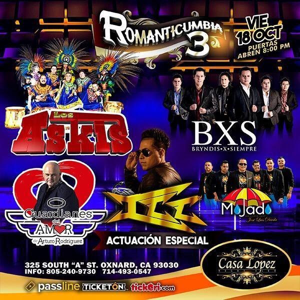 Flyer for Romanticumbia 3 Con Los Askis, BXS Bryndis x Siempre,Grupo ICC, Grupo Mojado y Mas Oxanard,CA