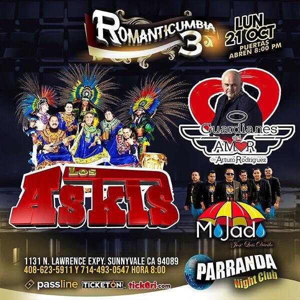 Flyer for Romanticumbia 3 Con Los Askis, Guardianes del Amor & Grupo Mojado en Sunnyvale,CA