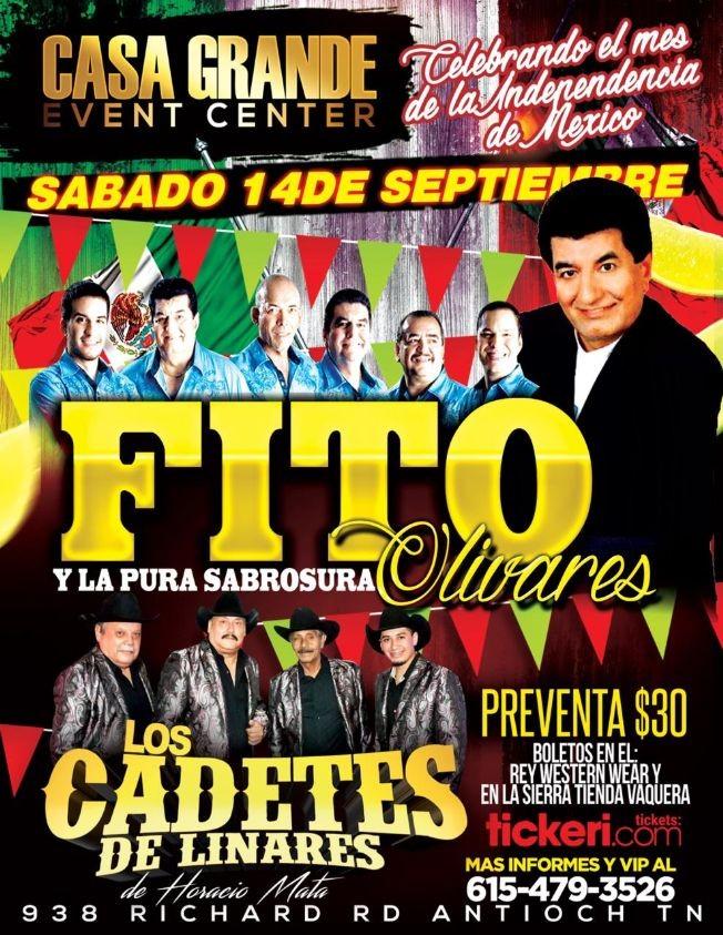 Flyer for Fito Olivares,Los Cadetes De Linares Y Mas En Antioch,TN