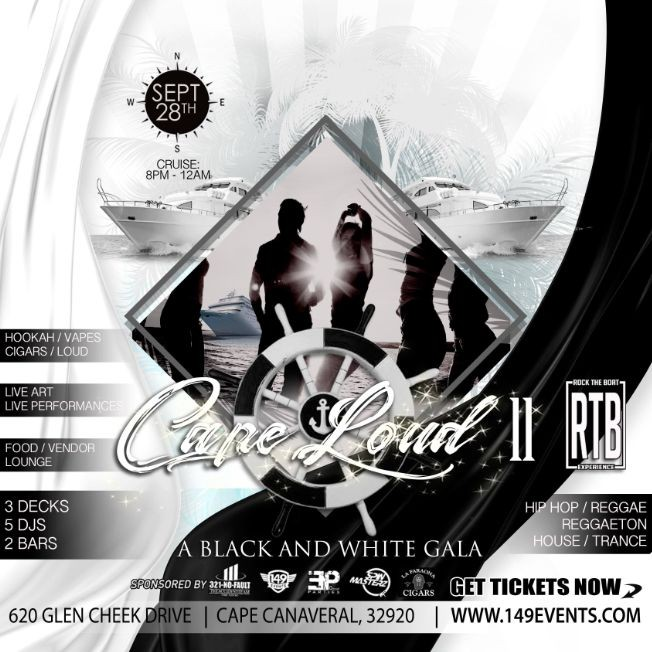 """Flyer for ROCK THE BOAT - """"CAPE LOUD II"""" (THEME: BLACK AND WHITE)"""