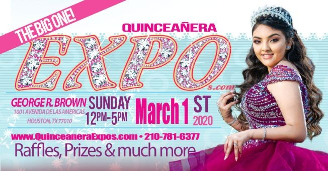 Flyer for Houston Quinceanera Expo 03-01-2020 at George R. Brown Tickets At The Door $ 9.99 Dollars